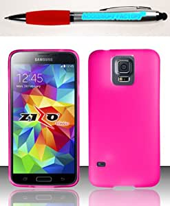 Accessory Factory(TM) Bundle (the item, 2in1 Stylus Point Pen) For Samsung Galaxy S5 - TPU Case Cover Protector Hot Pink