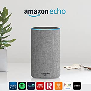 Amazon Echo (2nd generation) - Smart speaker with Alexa - Heather Grey Fabric