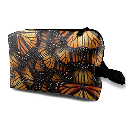 Makeup Cosmetic Case, Travel Makeup Train Case Pouch Multipurpose Clutch Bag, Large Space Storage Pouch Pencil Bag, (Heaps Of Orange Monarch Butterflies), Women's Portable Gift ()