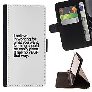 BullDog Case - FOR/Sony Xperia Z2 D6502 / - / believe value inspirational text inspiring /- Monedero de cuero de la PU Llevar cubierta de la caja con el ID Credit Card Slots Flip funda de cuer