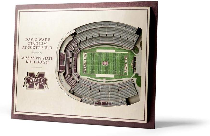 Brown YouTheFan NCAA Mississippi State Bulldogs 5 Layer Stadiumviews 3D Wall Art 17 x 13 x 5//8