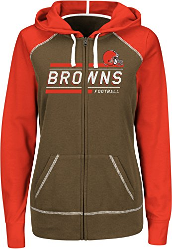 Cleveland White Browns Fleece (VF LSG NFL Cleveland Browns Women's Intense Drive Long Sleeve Full Zip Hoodie, Brown/Fire Red/White, Large)