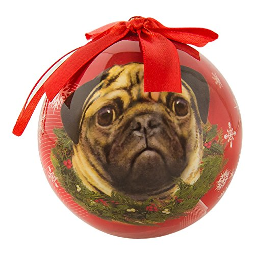 eBigValue Pets Christmas Ball Shatter Proof Bow Xmas Tree Ornaments Seasonal Dog Collection (3 inch) - Porcelain Christmas Ball