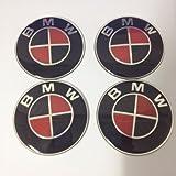 4pcs black-red Carbon Fiber Emblem Badge Logo Wheel Center Hubs Caps Sticker Adhesive for bmw