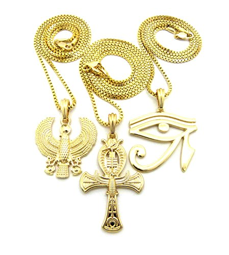 Ma'at Costume (Gold-Tone Egyptian Eye of Heru, Horus Bird, Ankh Cross Pendant 24
