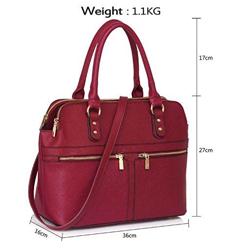 Xardi London Medium da donna in pelle sintetica EVA Tote work Day Grab borse donne borse a tracolla Burgundy Style 2 Style 2