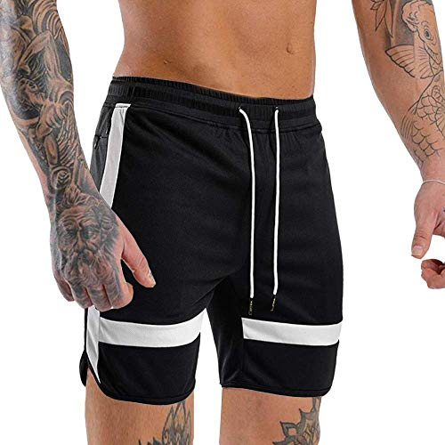 EVERWORTH Men's Gym Quick Dry Workout Shorts Fitted Bodybuilding Short Breathable Training Running Shorts with Zipper Pockets Black XXL ()