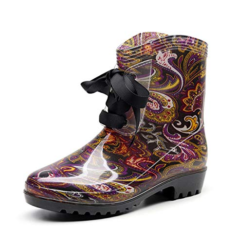 Omgard Rain Boots for Women, Purple Floral Printed Wide Mid Calf Boots Size 9, Half Calf Rubber Waterproof Shoes Lace Up, Comfortable Ladies Wellies Rainboots for Garden, Farm, Outdoor Footwear