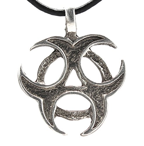 Pewter Biohazard Symbol Pendant on Leather Necklace -