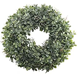 "Nahuaa Boxwood Wreath for Front Door Decor, 17"" Artificial Greenery Wreath Farmhouse Garland Home Office Housewarming Gift Greenery Decorations"