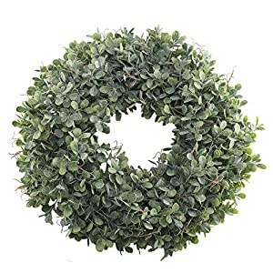 "Nahuaa Boxwood Wreath for Front Door Decor, 17"" Artificial Greenery Wreath Farmhouse Garland Home Office Housewarming Gift Greenery Decorations 80"