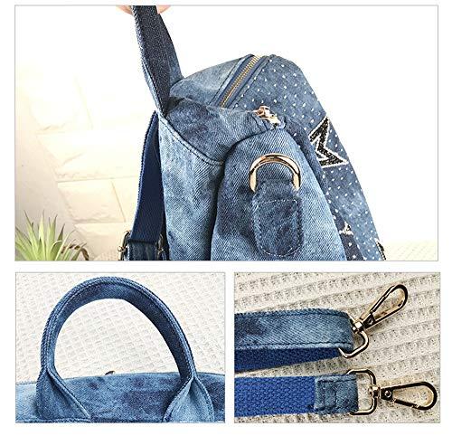 Azul Hcxin Bolso Mujer Mochila Para Negro wv7q1Ox