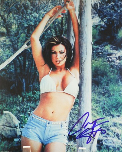 (Carmen Electra Autographed 8x10 Sexy Color Photograph - Signed in Blue Sharpie / Signed In Person - Baywatch / Dirty Love / Scary Movie / Date Movie - Rare - Collectible)
