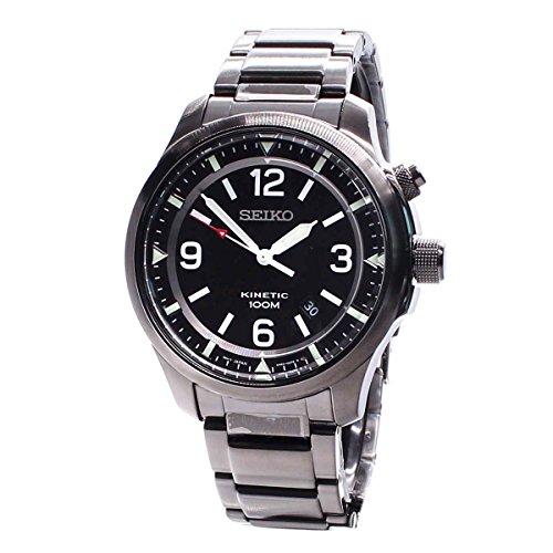 Mens Kinetic Black Dial - Seiko Kinetic Black Dial Stainless Steel Mens Watch SKA687