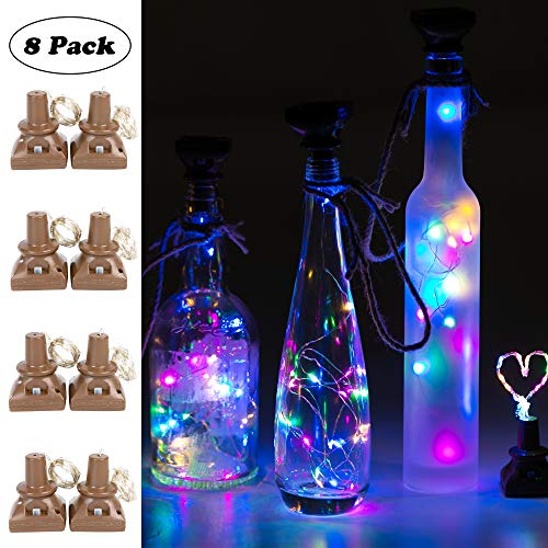 (Upgraded 8 Pack Solar Powered Wine Bottle Lights, 20 LED Waterproof Bottle Lights Fairy Cork String Craft Lights for Wedding Christmas, Outdoor, Holiday, Garden, Patio Pathway Decor (Multi Color)