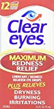Clear Eyes Maximum Strength Redness Relief - Relieves Dryness, Burning, and Irritations - Up to 12 Hours of Soothing Comfort - 0.5 Fl Oz - Pack of 6