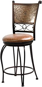 Powell Bronze with Muted Copper Stamped Back Counter Stool, 24""