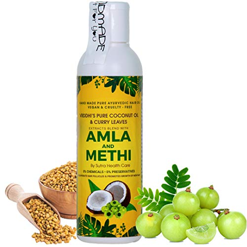 Vriddhi Organic Amla Hair Oil with Methi and Curry Leaves for Hair Growth, Reduce Hair Loss and Rejuvenate Follicles (Curry Leaves And Coconut Oil For Hair Growth)