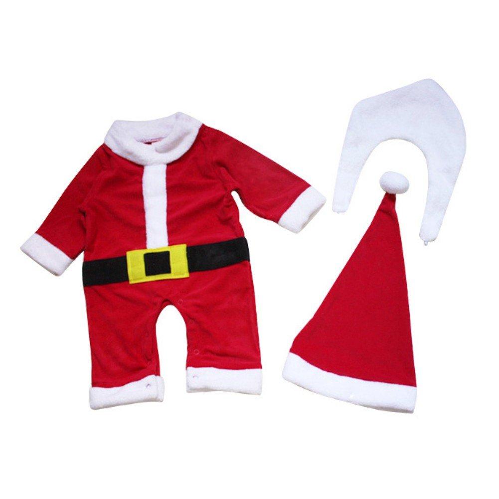 Ensembles No/ël Grenouill/ère Body Pyjama Pour B/éb/é Fille Gar/çon No/ël Costume Tenues Avec Chapeaux Rouge Bonnet du P/ère No/ël par Wongfon