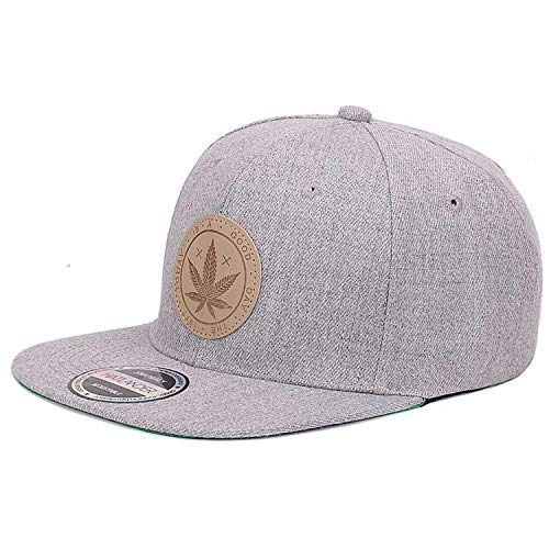 MingDe Sports Cotton Snapback Caps Women's Flat Brim Hip Hop Cap Outdoor Baseball Cap Grey ()