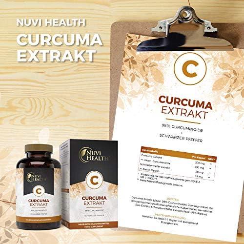 98/% Curcumin Vegan Laborgeprüft Curcuma Extrakt 100 Kapseln á 500 mg
