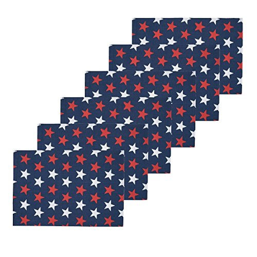 (C&F Home Americana Liberty Stars Patriotic 4th of July Memorial Day Labor Day Americana Liberty Decorative Placemat Set 6 Rectangular Placemat Set of 6 Red, White, Blue)