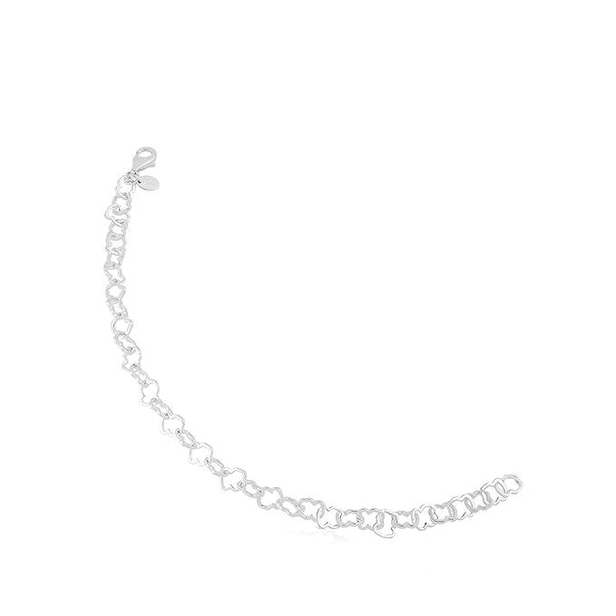 Pulsera TOUS Mujer ajustable Carrusel en plata de pirmera ley, Eslabones de oso, Largo 19 cm
