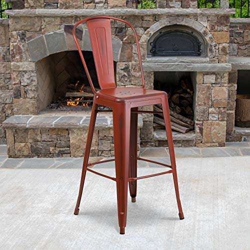 Flash Furniture Commercial Grade 4 Pack 30″ High Distressed Kelly Red Metal Indoor-Outdoor Barstool