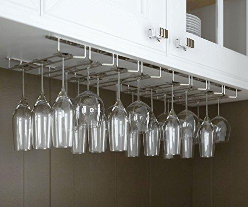 Rack and Hook Stemware Wine Glass Rack Under Cabinet Storage, 24 Glasses, Chrome Finish (Glass Cabinet Storage compare prices)