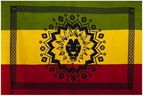 Lakhays JAH Lion Africa Reggae Tapestry Wall Hanging Bed Spread-Rasta-One Size