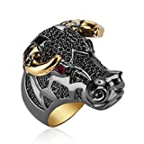 Black Coloured Taurean Charm Ring for Women|Gift for Her Birthday|Christmas Gift for Her