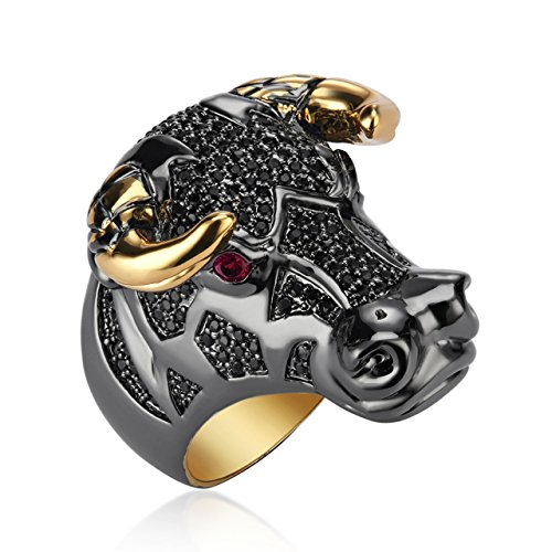 Black Coloured Taurean Charm Ring for Women|Gift for Her Birthday|Christmas Gift for Her by shaze