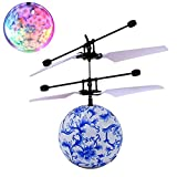 Creazy RC Flying Ball Drone Helicopter Ball Built-in Shinning LED Lighting for Kids Toy (Blue)
