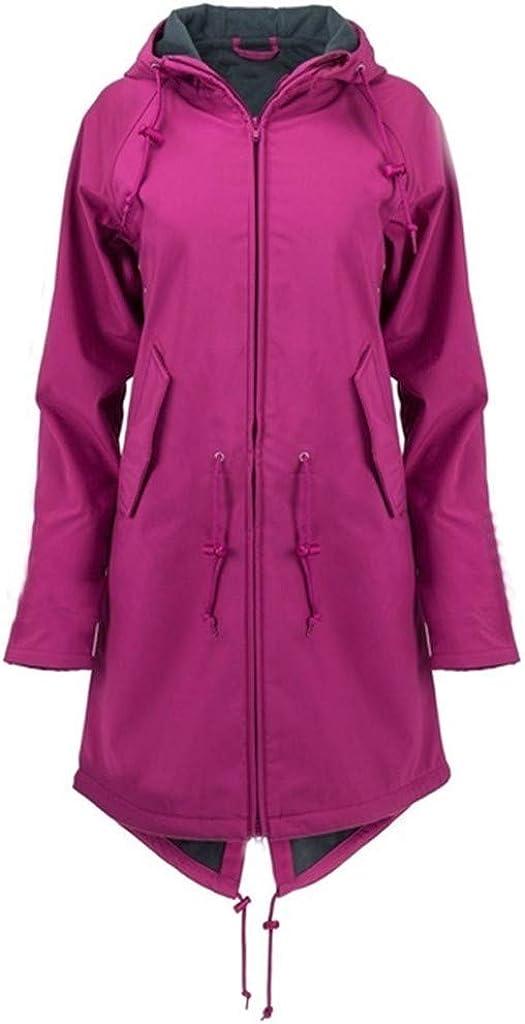 Limsea Womens Plus Size Raincoat Rain Jacket Long Lightweight Waterproof Windbreaker with Hooded