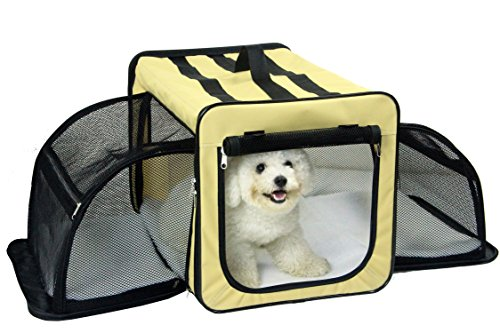 Pet Life Capacious Dual-Expandable Wire Folding Lightweight Collapsible Travel Pet Dog Crate