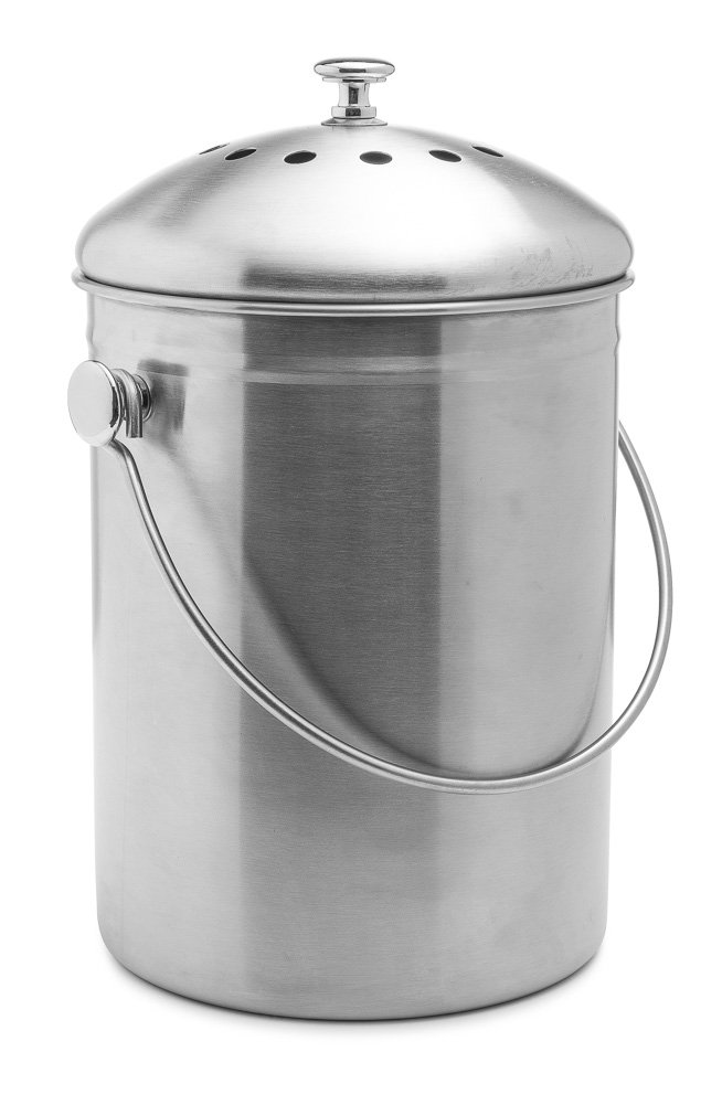 Epica Stainless Steel Compost Bin 1.3 Gallon-Includes Charcoal Filter by Epica