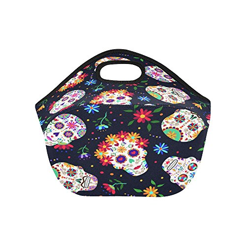 eca2eeb6cbfc InterestPrint Mexican Sugar Skull Insulated Lunch Tote Bag - Import ...