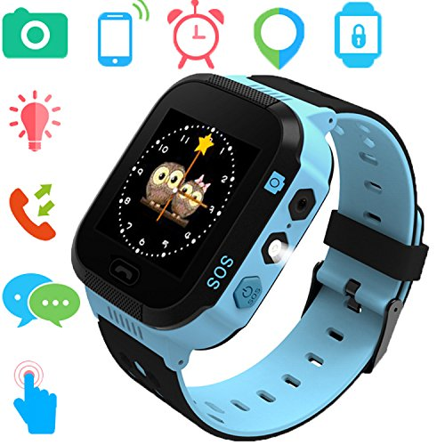 Smartwatches for Boys Girls - GPS LBS Tracker Watch for Children with Games Phone SOS Alarm Clock Camera Mothers Day Gifts Control by Parents Compatible with iPhone/Android (02 GM9 Blue)