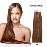 20 inch Skin Weft Tape in Straight Human Hair Extensions Double Sided Tape Remy Hair 20pcs 50g/pack (#6) Chestnut Brown