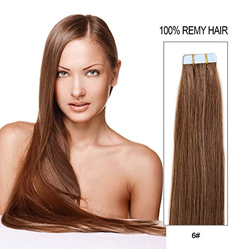 20 inch Skin Weft Tape in Straight Human Hair Extensions Double Sided Tape Remy Hair 20pcs 50g/pack (#6) Chestnut Brown (Natural Extension Hair Human)
