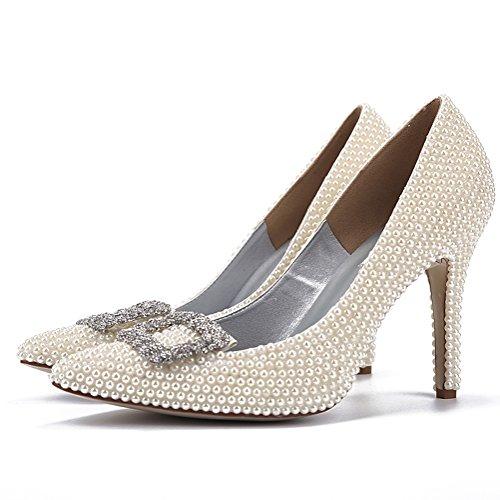 Comfort Verano White yc Charol Para Alto Primavera Mujer Plataforma Tacón Punta L Zapatos Rhinestone Estrecha De Stiletto 8zanq