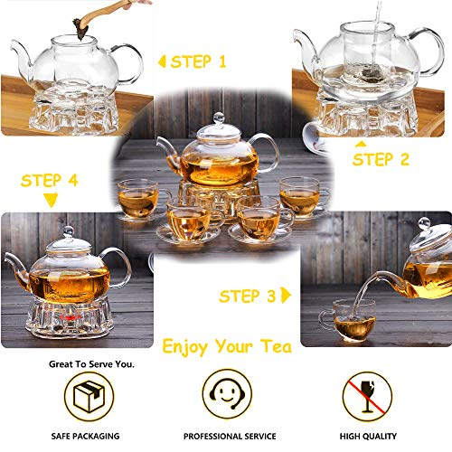 Clear Glass Teapot Set with Infuser 4 glass Tea Cups 4 Glass Saucers 1 Heart Shape Crystal Glass Warmer Base,Glass Tea Maker Teapot with Filtering, Blooming Loose Leaf tea pot by Tortoise IT (Image #6)