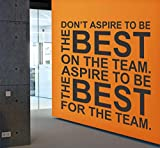 perfect soccer wall decals Motivational quote wall decal about teamwork | For home, bedroom, office, sport room, gym | Aspire to be the best for the team