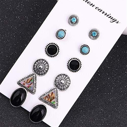 Naomi 6 Pairs/Set Vintage Bohemian Geometric Rhinestone Earring Set Gemstone Turquoise Stud Earrings for Women -