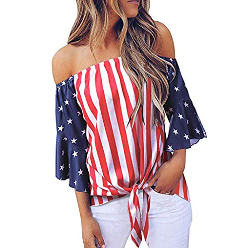 Women's Off Shoulder Tops USA Flag Bell Sleeve Shirt Tie Knot Casual Blouses T Shirt Red