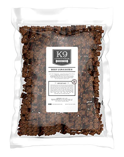 K9 Connoisseur Low to Odor Free Slow Roasted Beef Lung Bites for Dogs Made in USA Grain & Rawhide Free Natural Dog…