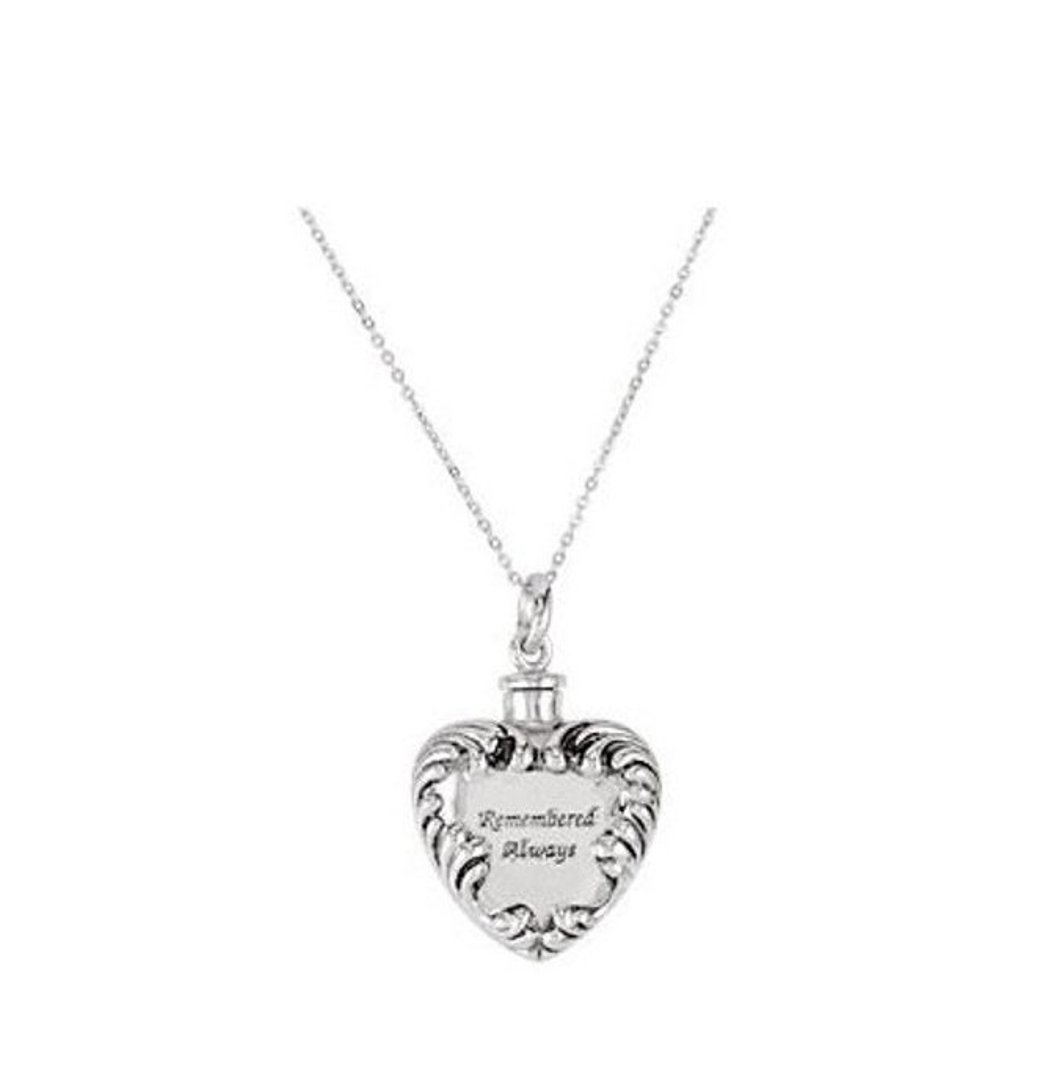 Sterling Silver Heart Shaped Remembered Always Cremation Urn Ash Holder Necklace With 18'' Chain