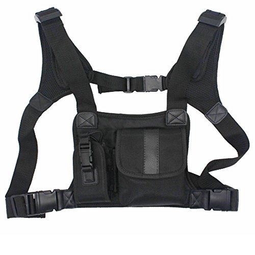 GoodQbuy Universal radio harness chest Rig Bag Pocket Pack Holster Vest for Two Way Radio (Rescue Essentials) (Leather - Pack Universal Chest