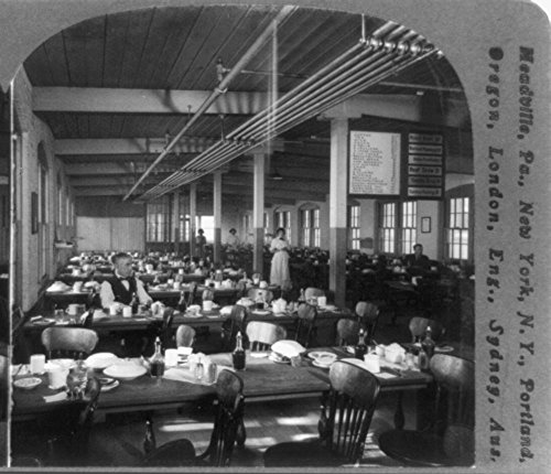 1914 Photo Employees' noon restaurant at the plant of the Cheney Bros. Silk Manufactory, So. Manchester, Conn., U.S.A. Location: Connecticut, South Manchester (Restaurant Manchester Stock)