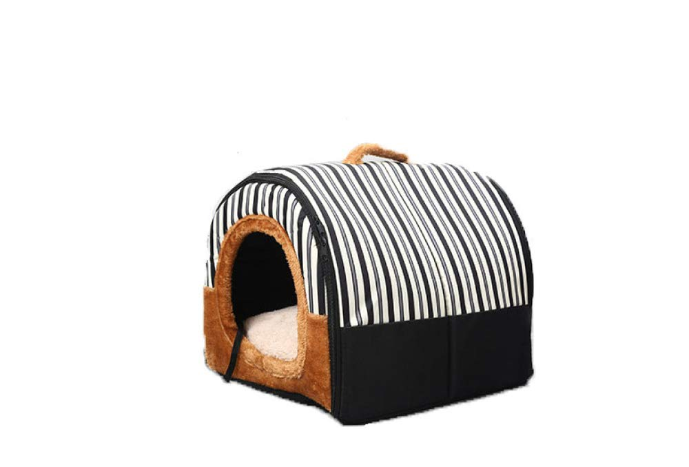 Black Small Black Small DZTIZI Pet Nest 2 In 1 Warm Insulated Classic Waterproof Portable Washable Four Seasons Universal Dual Use Sofa,Black-S